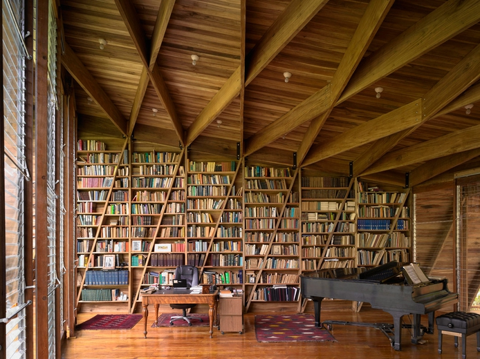 Library shelving and structure as one